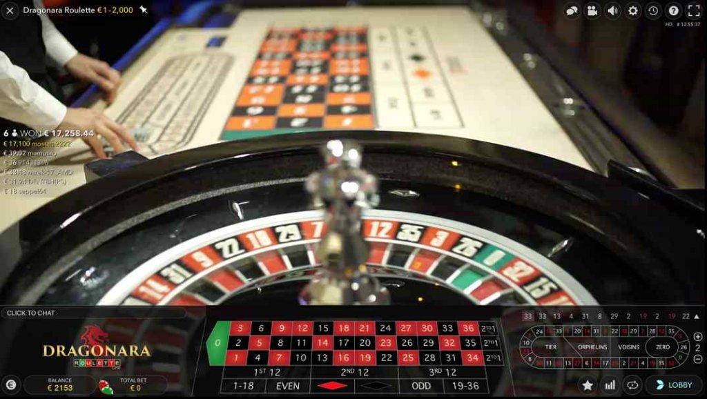 Betchan Dragonara Live European roulette screenshot