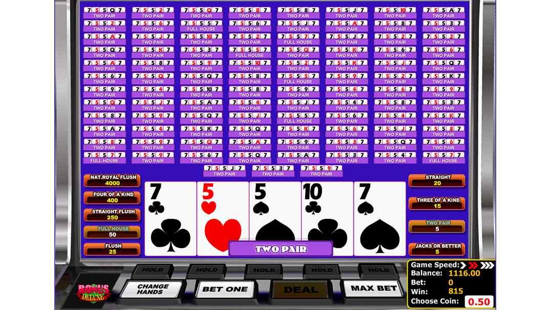 21.com Casino video poker - Bonus Deluxe by Betsoft Gaming