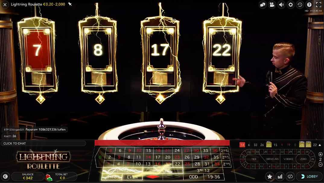Lightning Roulette online live casino by Evolution
