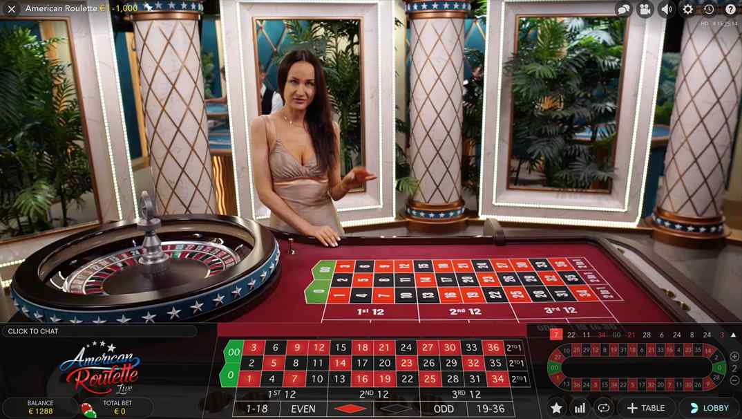 America Roulette online live casino by Evolution