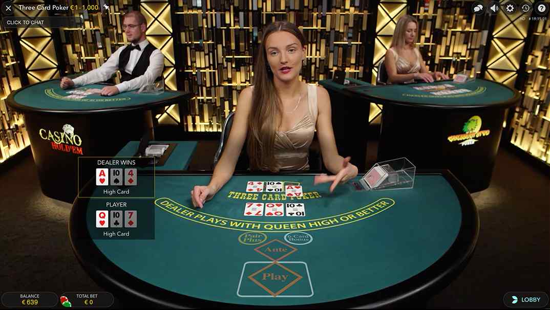 Enzo Casino Live Three Card Poker