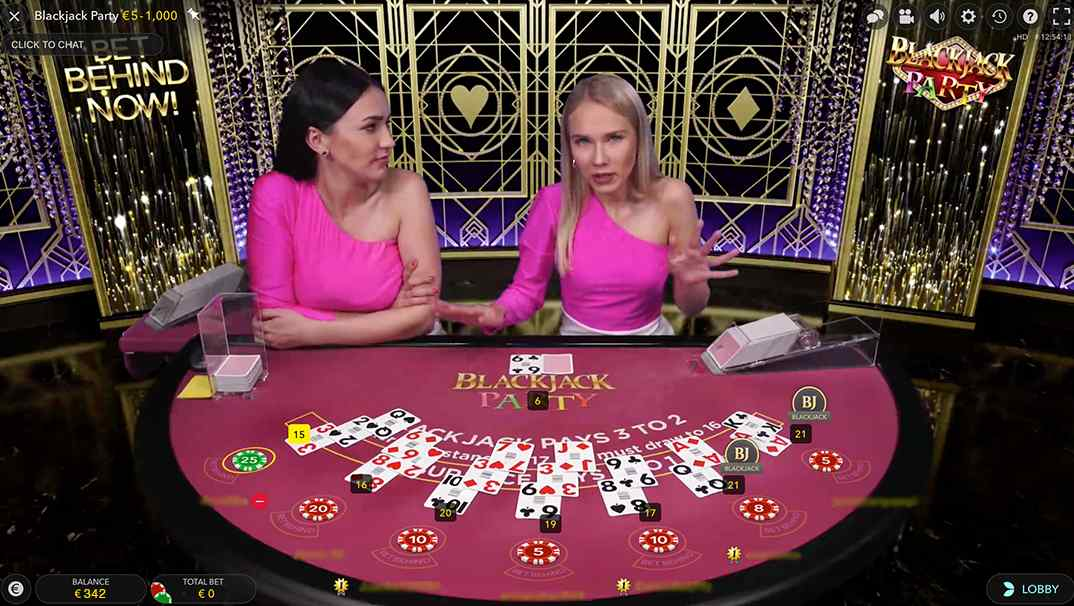 Blackjack Party by evolution gaming - 2 girl dealers in pink