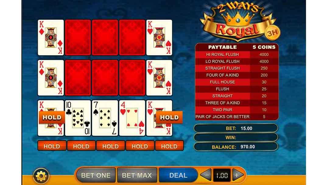 SlotsMagic video poker - 2 Ways Royal by GVG