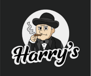Harry's Casino review logo with Harry smoking a cigar on black background 300x300