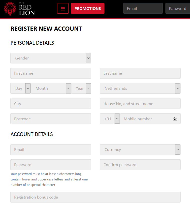 The Red Lion Casino registratiepagina