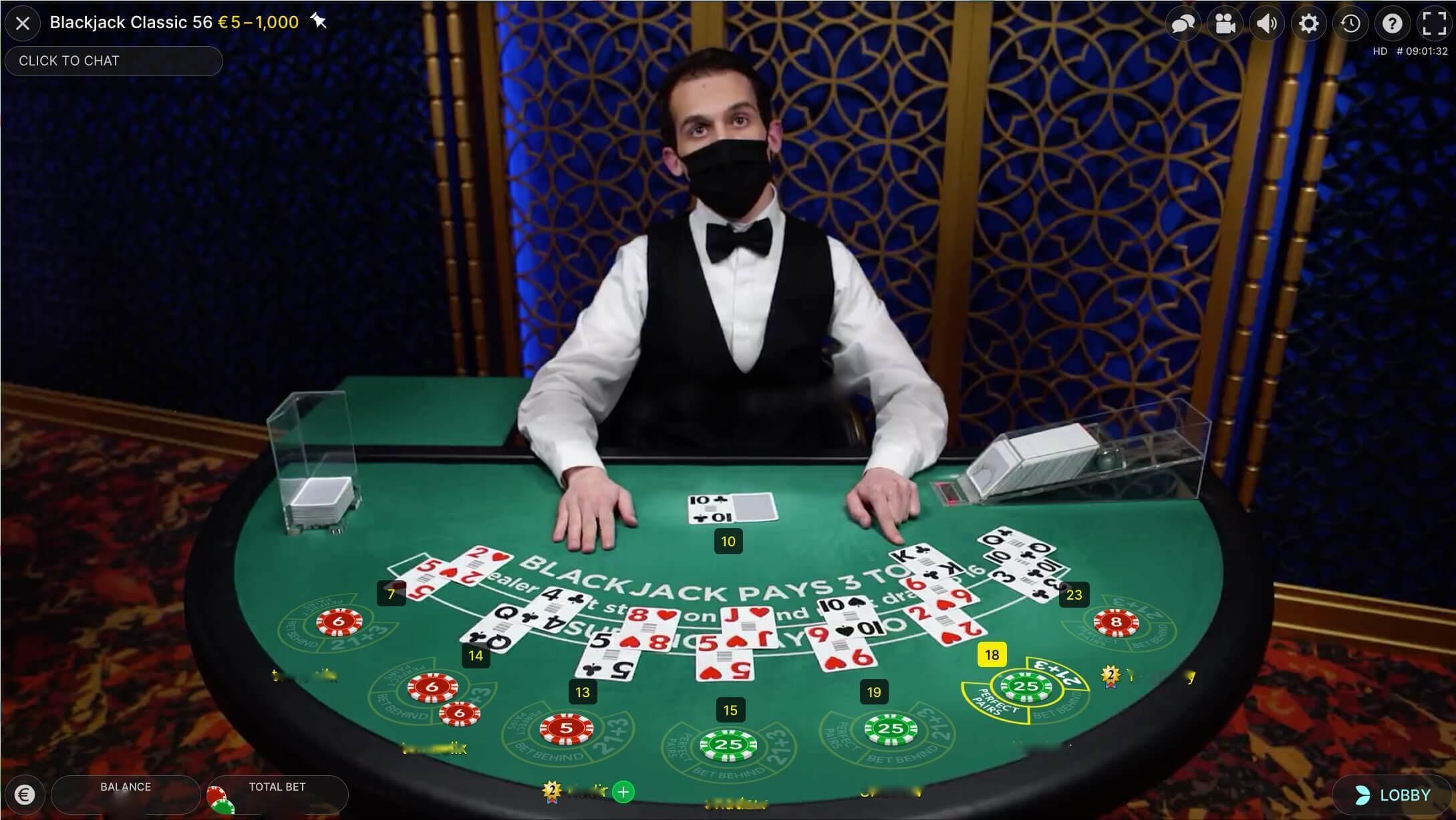 Live blackjack online - Classic Blackjack by Evolution Gaming