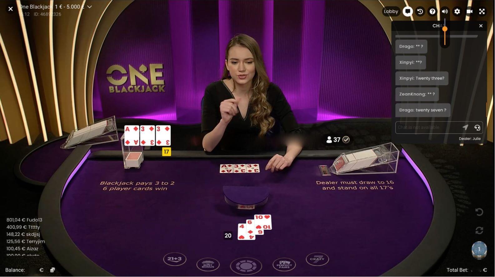 Live blackjack online - ONE Blackjack by Pragmatic Play 1585x890