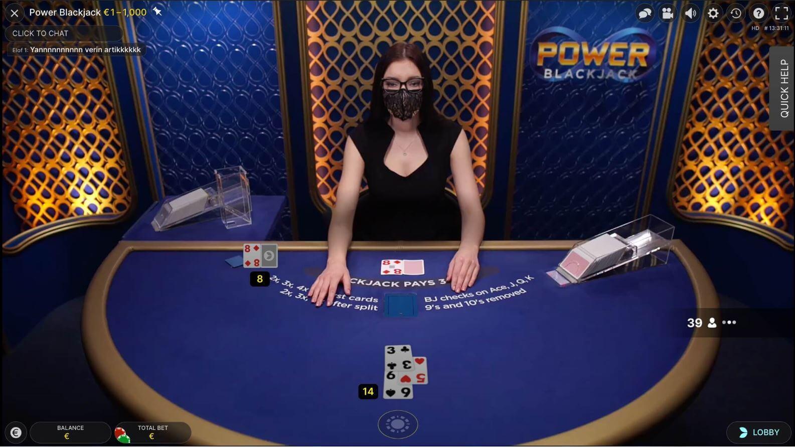 Live blackjack online - Power Blackjack by Evolution Gaming 1585x891