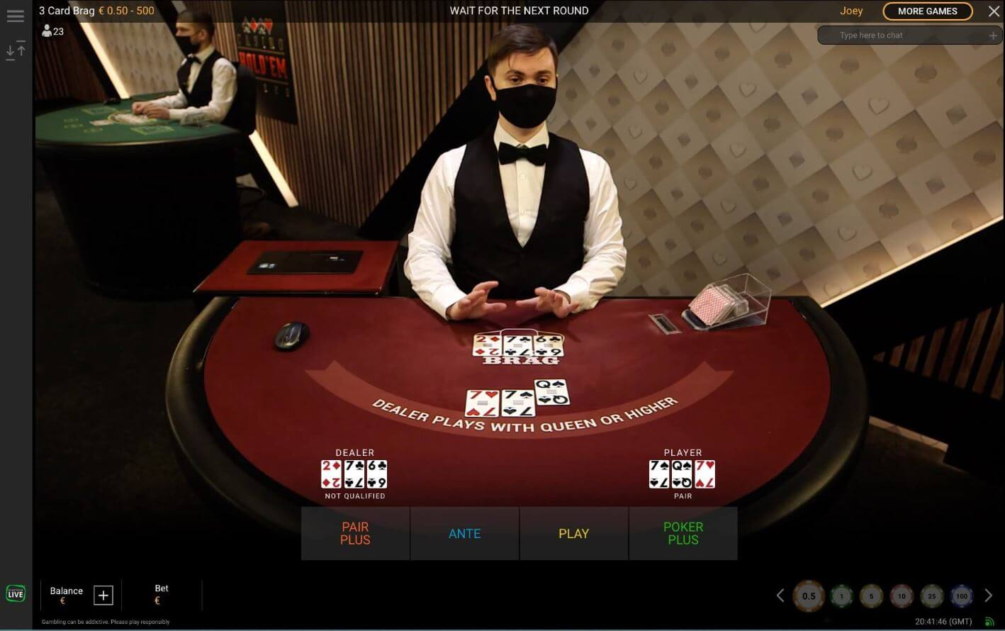 Live Poker Online - 3 Card Brag by Playtech