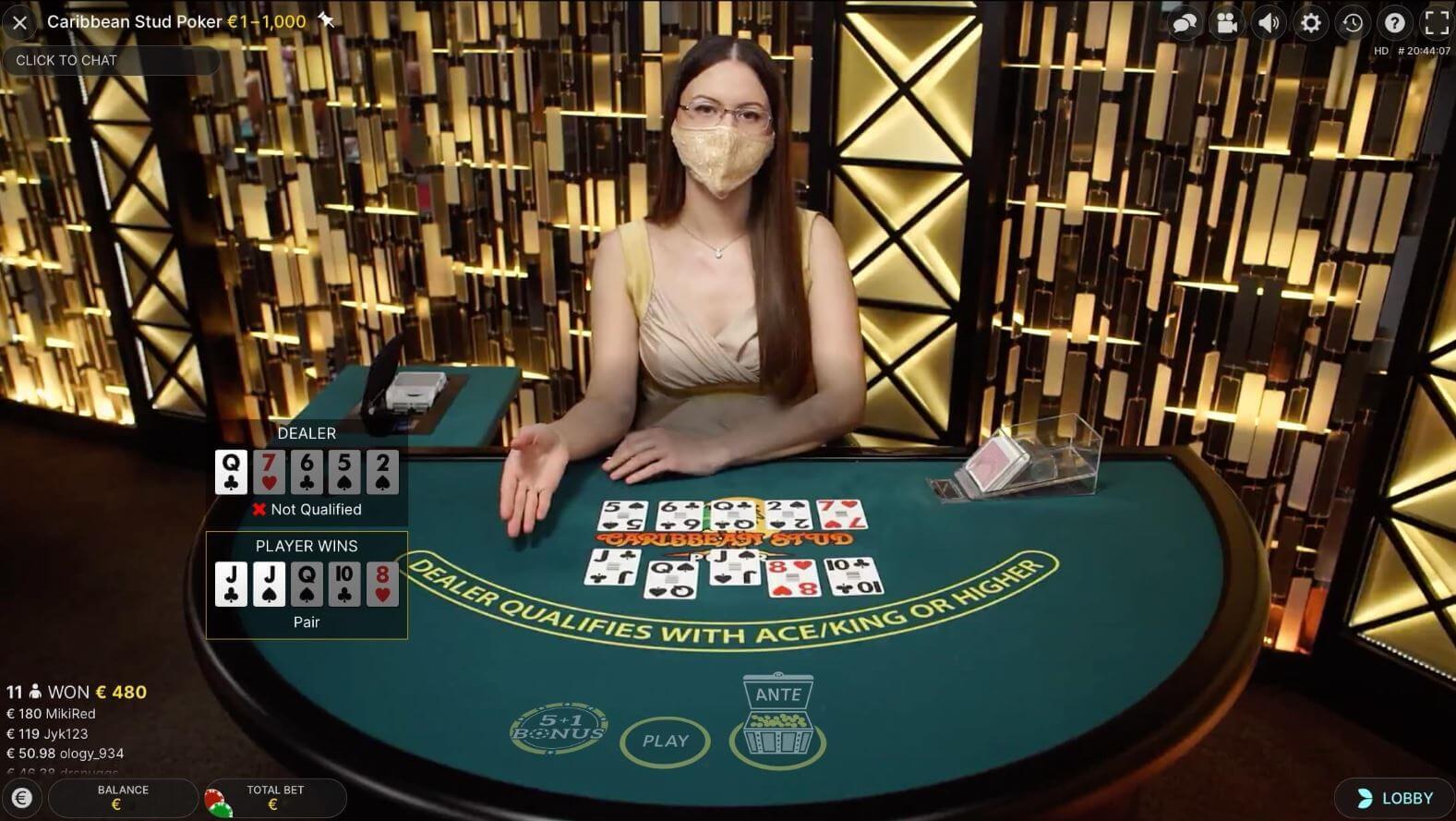 Live Poker Caribbean Stud Poker by Evolution
