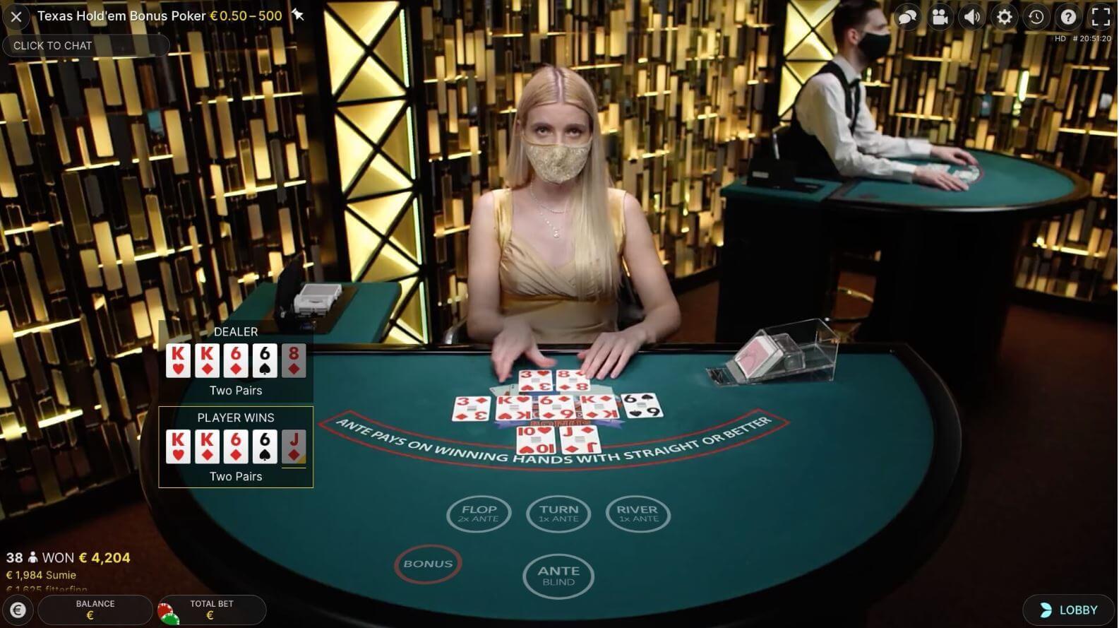 Live Poker - Texas Hold'em Bonus Poker - Evolution Gaming