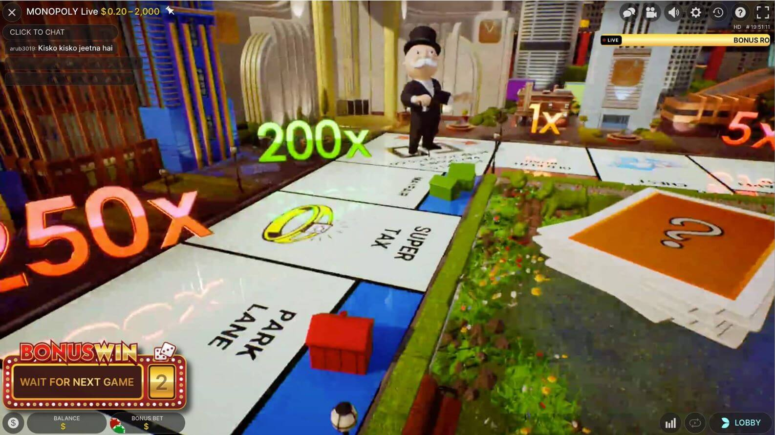 Monopoly Live multipliers