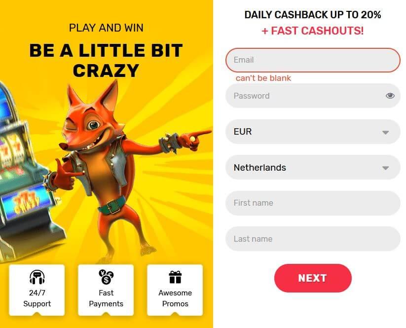 Crazy Fox casino registreren