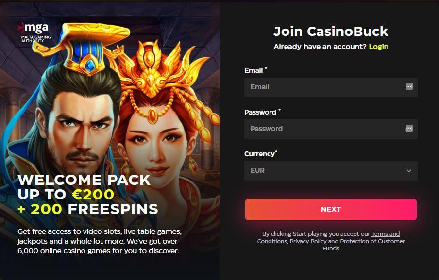 casinobuck registratie