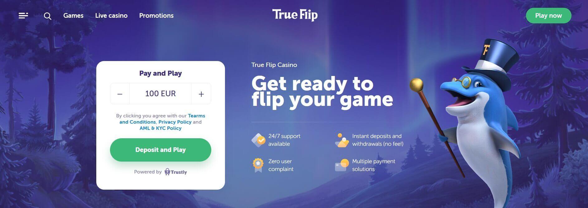 True Flip casino homepage screenshot 1887x668